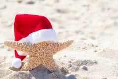 Морские звёзды со шляпой Санта в песке стоковые фотографии rf