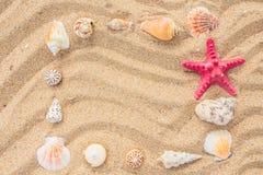 Морские звёзды и волна на песчаном пляже Стоковое Изображение