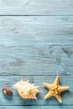 Морские звёзды и seashell на голубых досках Стоковая Фотография RF