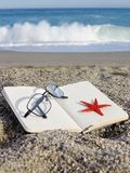 Морские звёзды книги пляжа стоковые фото