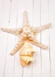 Морские звёзды на белом деревянном столе предпосылки Стоковое Изображение