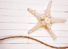 Морские звёзды на белом деревянном столе предпосылки Стоковое Изображение RF
