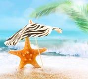 Морские звёзды на песчаном пляже и зонтике Стоковые Фотографии RF
