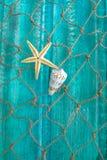 Морские звёзды, раковина и рыболовная сеть Стоковое фото RF