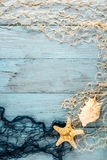 Морские звёзды, seashell и морская сеть Стоковые Фото