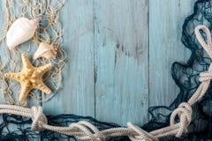 Морские звёзды, seashell и морская сеть Стоковая Фотография RF