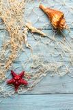 Морские звёзды, seashell и морская сеть Стоковые Фотографии RF