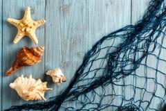 Морские звёзды, seashell и морская сеть Стоковая Фотография