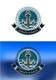 Морские значки с анкерами кораблей Стоковые Изображения