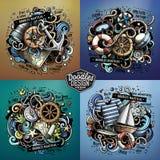 Морские иллюстрации doodle вектора шаржа Стоковое Изображение