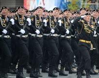 Морские пехотинцы сил 61st отдельной пехотной бригады Красного знамени Kirkenes военноморской прибрежных северного флота во время Стоковые Изображения RF