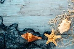 Морские сеть и раковины на голубых досках Стоковые Фотографии RF