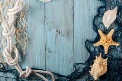 Морские сеть и раковины на голубых досках Стоковое Фото