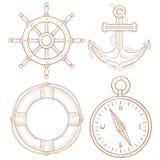 Морские символы - рулевое колесо, анкер, lifebuoy, компас Эскиз нарисованный рукой покрашенный Стоковое Фото