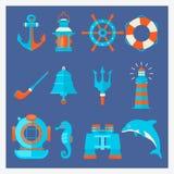 Морские элементы в стиле шаржа Морское оборудование приключения вектор Стоковые Изображения RF