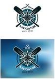 Морские эмблема или значок навигатора Стоковое фото RF