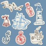 Морские doodles на сорванной бумаге иллюстрация штока