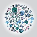 Морские doodles Стоковые Изображения RF