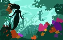 Морское дн дно с русалкой иллюстрация штока