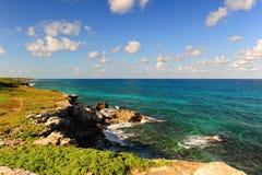 Морское побережье на острове Isla Mujeres, Мексике Стоковые Фотографии RF