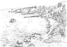 Морское побережье с пристанями и скалистый берег в Крыме Стоковые Фотографии RF