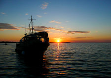 Морское прибытие захода солнца Стоковое фото RF