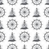 Морской морской безшовный дизайн картины с винтажным маяком и колесом бесплатная иллюстрация