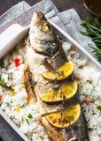 Морской волк рыб испеченный с рисом и овощами Стоковые Изображения RF