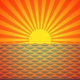 Морской заход солнца Стоковые Изображения RF