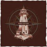 Морской дизайн ярлыка футболки с иллюстрацией старого маяка Стоковое Фото