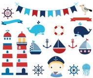 Морской комплект с шлюпками, кормилами и маяками Иллюстрация вектора