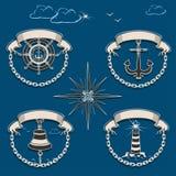 Морской комплект эмблемы бесплатная иллюстрация