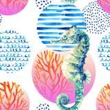 Морской конек акварели, коралловый риф в круге градиента покрашенном с элементами doodle на белой предпосылке иллюстрация вектора