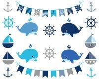 Морской мальчик установленный в голубое и серое Иллюстрация штока