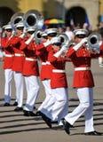 морской пехотинец корпуса полосы маршируя стоковое изображение rf