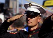 Морской пехотинец Соединенных Штатов салютует американскому флагу стоковое изображение