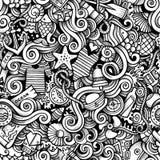 Морской пехотинец шаржа нарисованный рукой морской doodles безшовная картина Стоковые Изображения