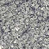 Морской пехотинец шаржа нарисованный рукой морской doodles безшовная картина Стоковое фото RF
