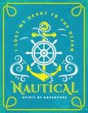 Морской плакат с анкером, рулевым колесом и рамкой веревочки Стоковая Фотография