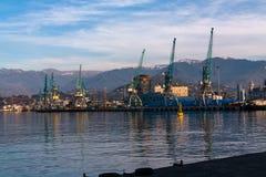 Морской порт в вечере, Батуми Стоковые Изображения RF