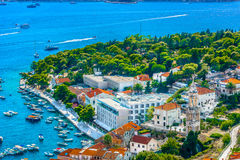 Морской порт в городке Hvar, Хорватии Стоковое Изображение RF