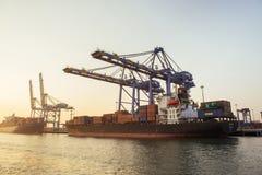 Морской порт в форте Kochi на заходе солнца Стоковое Изображение RF