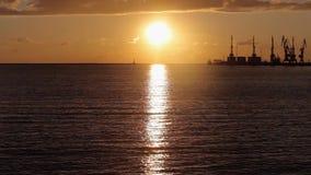 Морской порт, краны в морском порте на заходе солнца, большом морском порте на заходе солнца видеоматериал