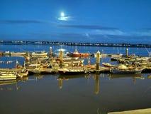 Морской порт к ночь стоковое фото rf