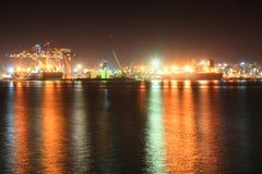 Морской порт на ноче Стоковое Изображение