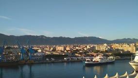 Морской порт, паром и город Палермо, Италия акции видеоматериалы
