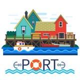 Морской порт Шлюпки с грузом Стоковое Изображение RF
