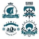 Морской спорт, дизайн яхт-клуба с парусными суднами Стоковая Фотография