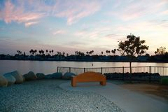 Морской стадион обозревает заход солнца над заливом Лонг-Бич Калифорнией Alamitos Стоковое Изображение RF