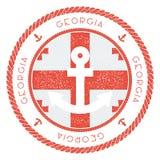 Морской штемпель перемещения с флагом Georgia и иллюстрация штока